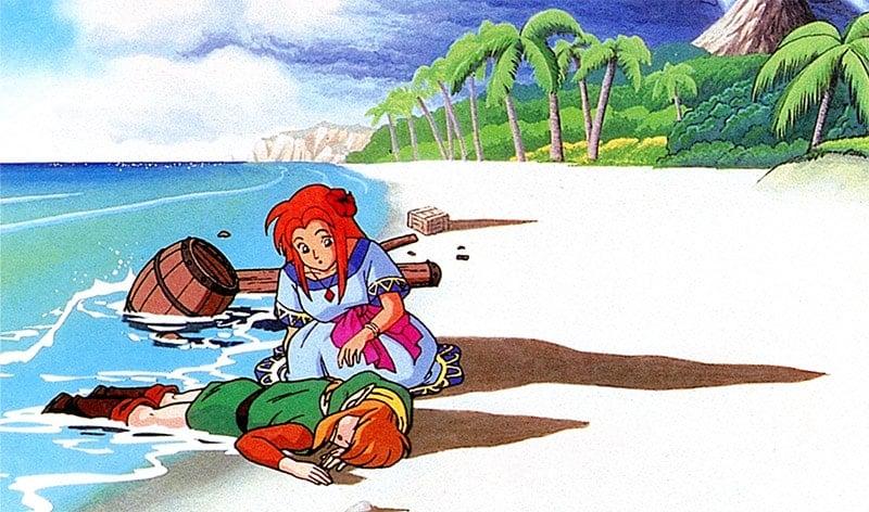 Imagem de Link desmaiado na praia quando Marin o encontra.
