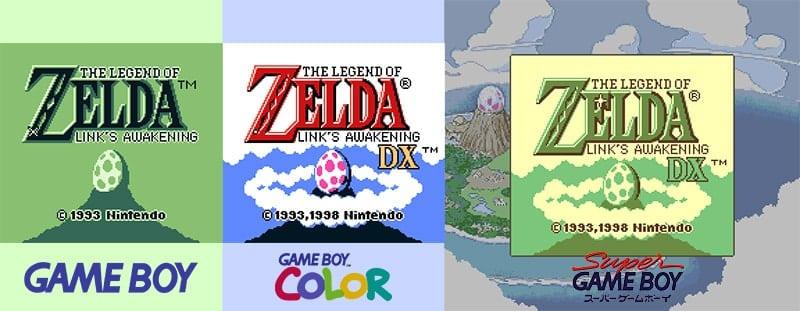 Imagem comparando a tela inicial do jogo na versão original para o Game Boy, a versão DX no Game Boy Color e no Super Game Boy