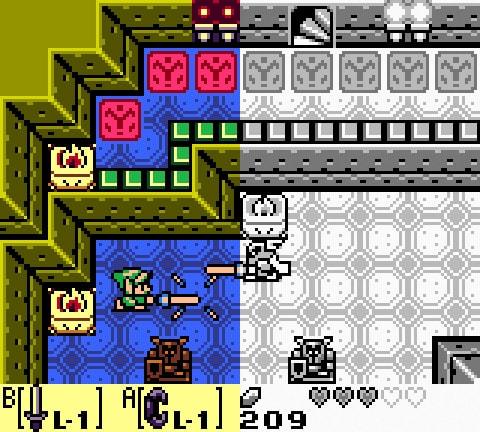 Comparação do jogo com e sem cores.