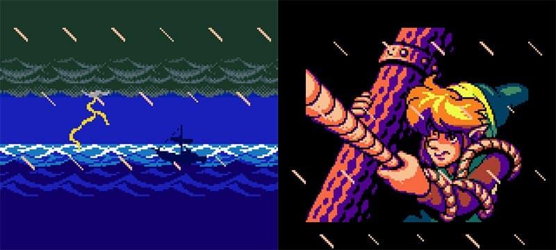Abertura do jogo com Link se amarrando no mastro de sua jangada para não ser jogado para fora na tempestade.