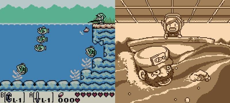Imagem de demonstração da pescaria no jogo.
