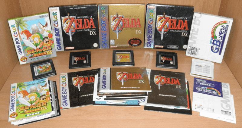Variações e exemplares de Zelda DX para o Game Boy Color.