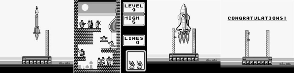 Imagens do final do Tetris para Game Boy.