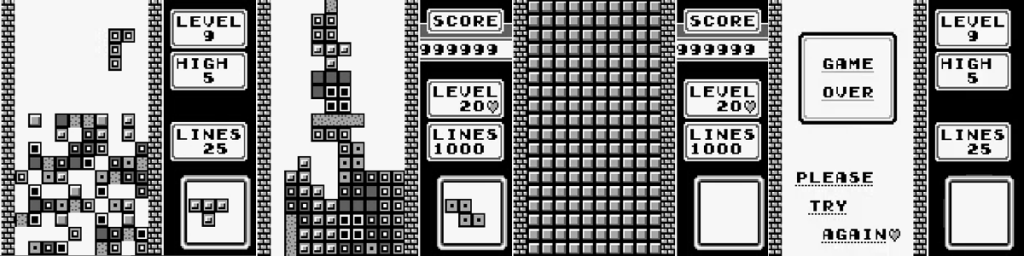 Imagens do jogo Tetris para Game Boy.
