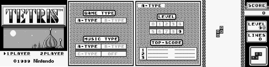 Telas de seleção de música e dificuldade do Tetris para Game Boy.